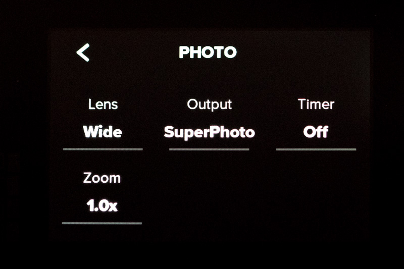 Screenshot of GoPro Hero 8 Photo Settings