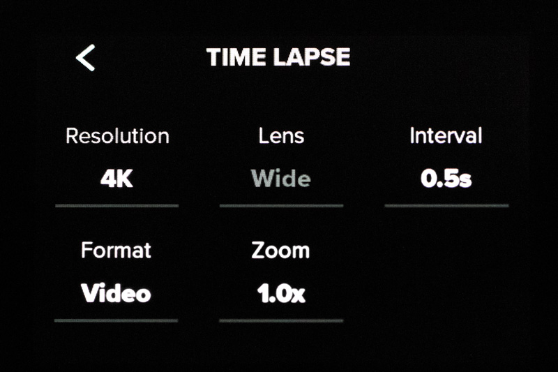Screenshot of GoPro Hero 8 Time Lapse Settings