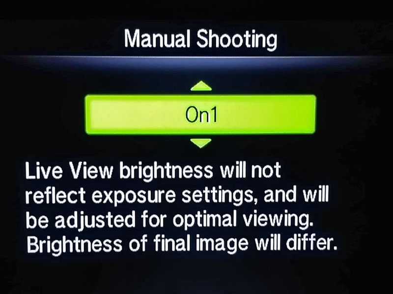 Screenshot of Manual Shooting Live View Boost Mode