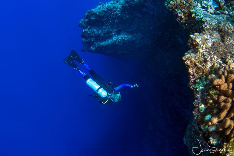 Diver on Molokini's Back Wall. Maui, Hawaii Nikon D780, f/11, 1/125, ISO 200 Photo by Jenna Szerlag