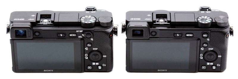 Sony a6400 on left and a6100 on right