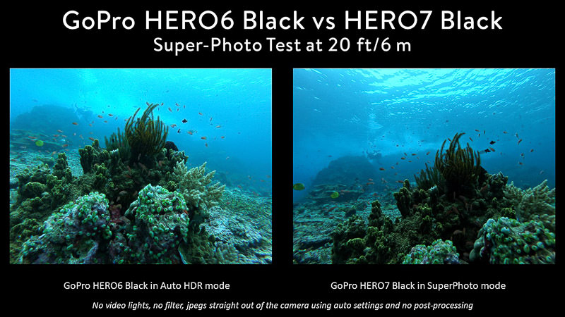 GoPro 6 HDR mode vs GoPro 7 Super Photo Comparison Komodo reef