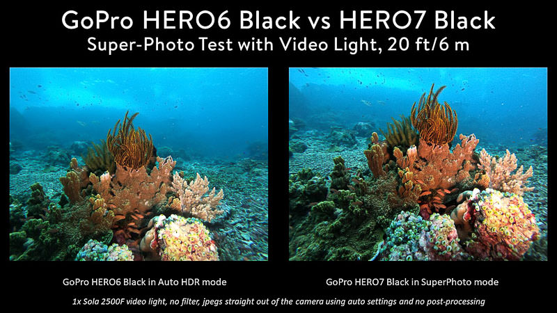 GoPro 7 vs 6 comparison of photo modes using video light