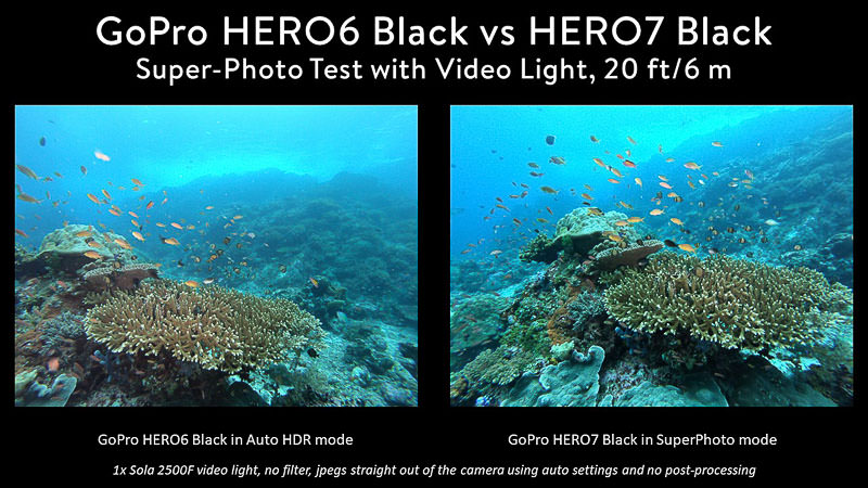 GoPro 7 vs 6 comparison of photo modes using video light, reef with fish above in Komodo