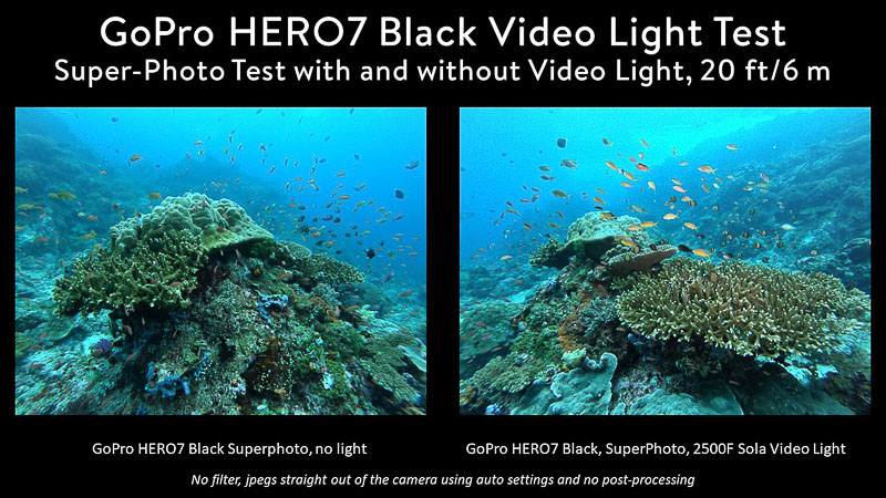 GoPro 7 side-by-side test showing photo with and without Sola video light
