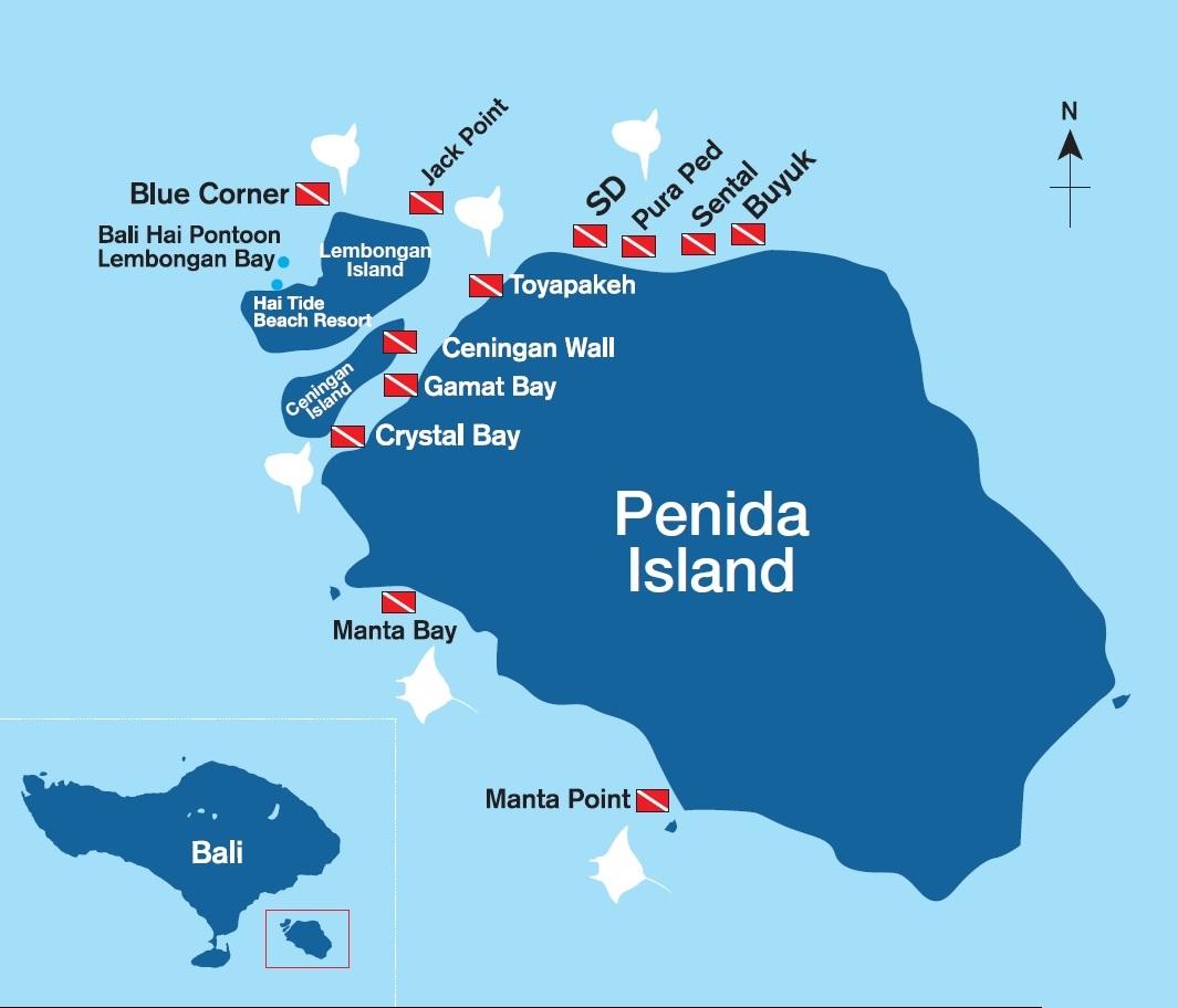 Map of Nusa Penida and Lembongan Dive Sites