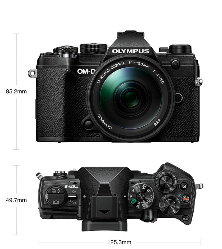 OM-D E-M5 III top and front views