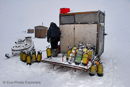 Tank fill station at base camp