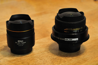 nikon and tokina fisheyes, great underwater lenses