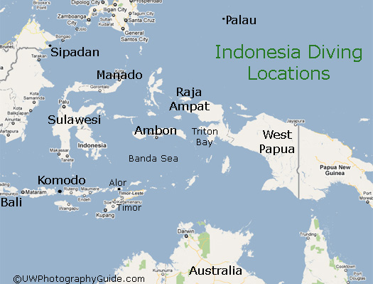 map of indonesia diving areas