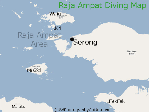 map of raja ampat diving areas
