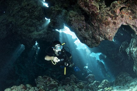 cave dive underwater in the red sea