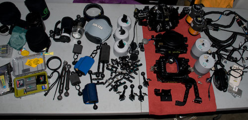Diving and photography gear